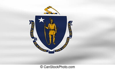 Waving Massachusetts State Flag, ready for seamless loop