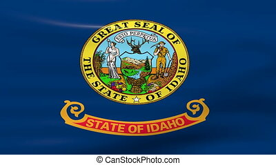 Waving Idaho State Flag, ready for seamless loop