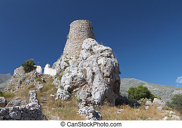 Kalymnos island in Greece - Castle of Crysochera at Kalymnos...