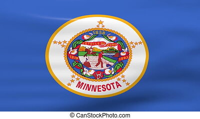 Waving Minnesota State Flag, ready for seamless loop