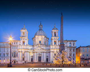 Four Rivers fountain and church SantAgnese - Fountain of the...