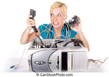 woman lost in technology - blond woman having problem with...