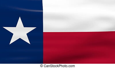 Waving Texas State Flag, ready for seamless loop.