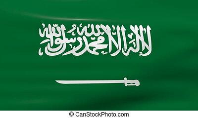 Waving Saudi Arabia Flag, ready for seamless loop.
