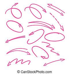 ピンク, 手, 引かれる, 矢, サイン