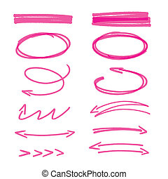 Set of pink hand drawn arrows signs and highlighting...