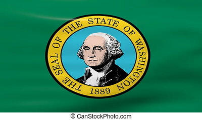 Waving Washington State Flag, ready for seamless loop.