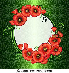 frame with red poppies and green damask patterned...