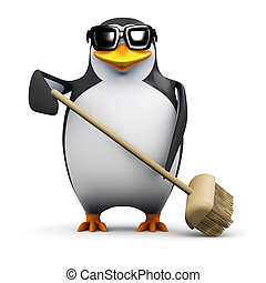 3d Penguin tidies up - 3d render of a penguin sweeping with...