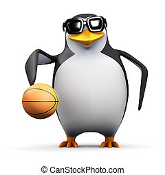 3d Penguin basketball player - 3d render of a penguin...