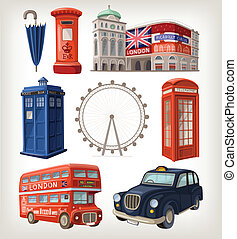 Famous London sights and retro elements of city architecture...