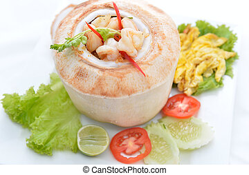 (Ho Mok) Thai food steamed seafood custard , curry seafood...