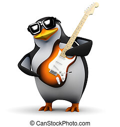3d Penguin goes wild on electric guitar - 3d render of a...
