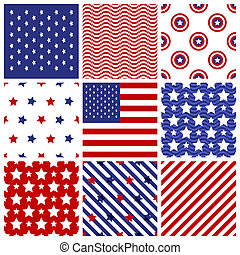Set of seamless in american colors. - Set of seamless...