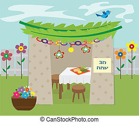 Decorative Sukkah - Vector illustration of sukkah with...