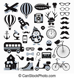 Vector Retro Vintage Icon Set - Retro Black and White Icon...