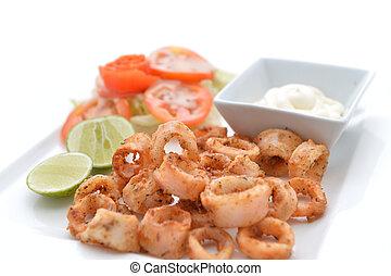 Deep Fried Calamari Rings with Sauce Bowl