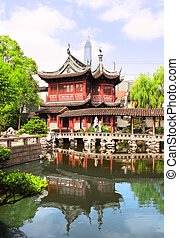 Pavilion in Yu Yuan Gardens, Shanghai, China - Pavilion and...
