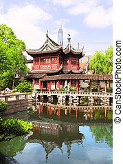 Pavilhão, jardins,  Shanghai,  China,  Yuan,  yu