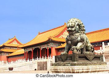 Leão, estátua, proibidas, cidade, Beijing,...