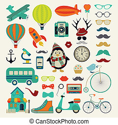 Vector Retro Vintage Icon Set - Retro Colorful Icon Set....