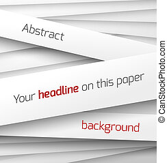 White paper rectangle banner on abstract 3d background with...