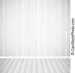 Bright empty room with striped wall and square floor interior