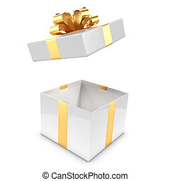 3d White and gold gift box pops open - 3d render of a white...