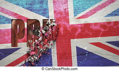 Spying Eyes Crumbling Wall Great Br - British flag painted...
