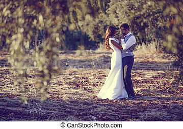 Just married couple in nature background - Just married...
