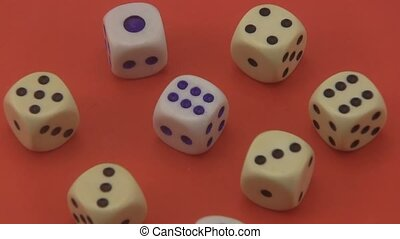 Dice on a red background. - Dice that are used in board...