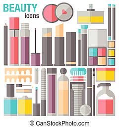 Beauty makeup flat icons - Flat icons set of common...