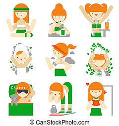 Healthy lifestyle and wellness flat icons - Flat icons set...
