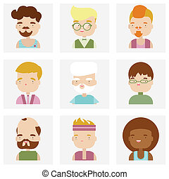 Cute male character faces flat icons - Flat icons collection...