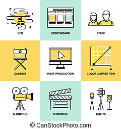 Films and post production flat icons - Flat line icons set...