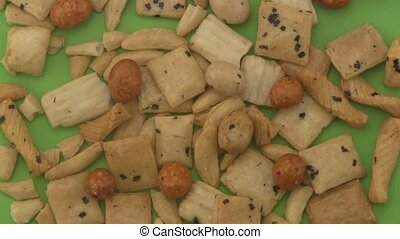 Rice crackers on a green background