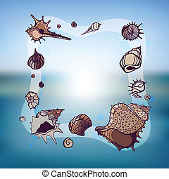 Frame of seashells. Summer Template. Vector illustration.