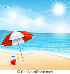 Beach - Vector illustration - beach summer scene