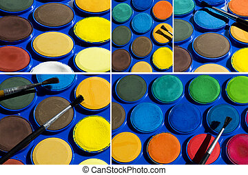 Watercolors - Collage of Watercolors paint box and brushe