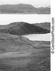 Iceland Myvatn Lake and lava formations - Icelandic...