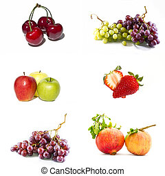 Mixed fruit  - Collage of mixed fruit on a white background
