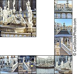 Palermo, Piazza Pretoria - Collage. Palermo, Piazza...