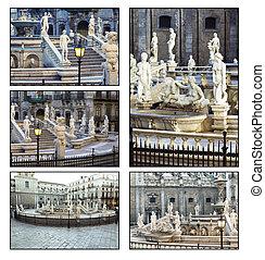 Palermo, Piazza Pretoria - Collage Palermo, Piazza Pretoria,...