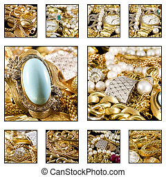 Gold jewels - Close up. Collage of a beautiful gold jewels