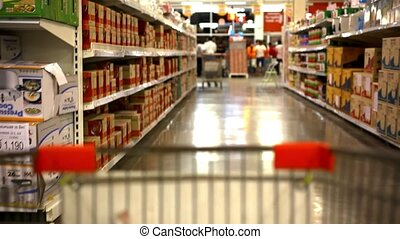 customers bought goods and trolley rides to the checkout....