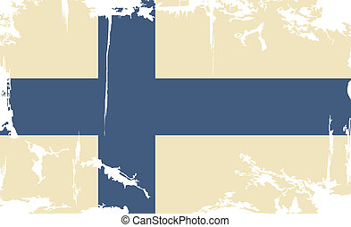 Finnish grunge flag. Vector illustration. Grunge effect can...