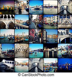 Venice - Collage. Beautiful landscapes and atmospheres of...