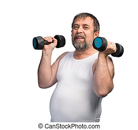 man exercising with dumbbells - Middle-aged man with a...