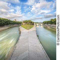Tiber Island with the Ponte Cestio in Rome, Italy - Tiber...