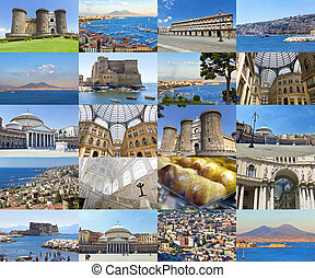 Naples - Collage Beautiful landscapes and atmospheres of...